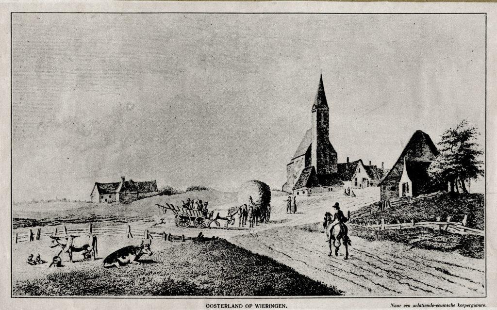 Oosterland op Wieringen, met de Michaels kerk als centrum.