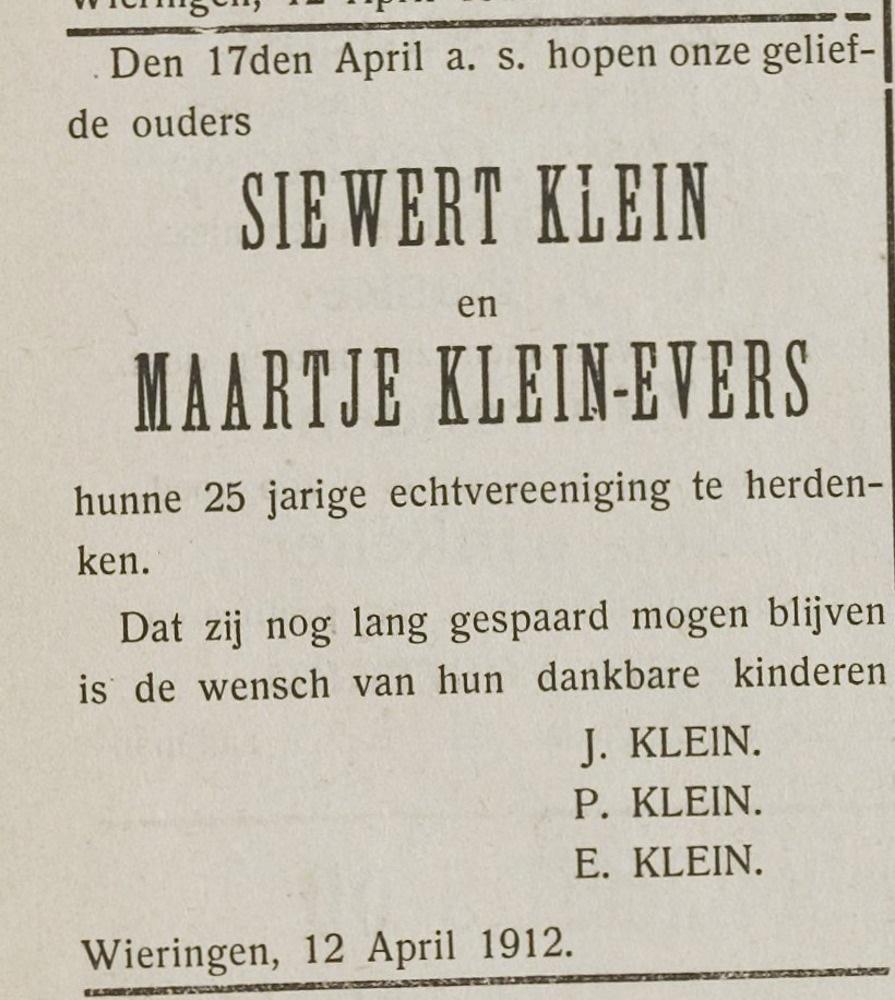 Sieuwert Klein en Maartje Evers 25 jaar getrouwd op Wieringen.