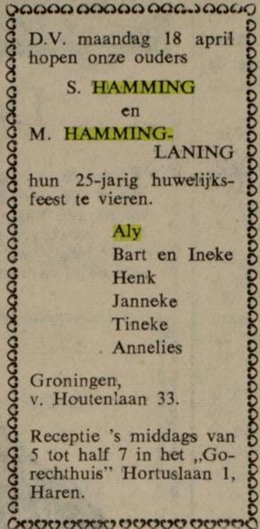 25 jaar huwelijk Sikke Hamming en Martje Laning.