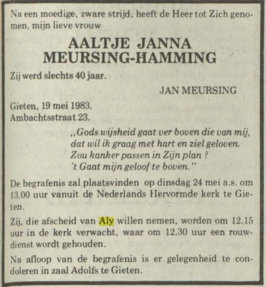 Aaltje Janna Meursing Hamming 1983