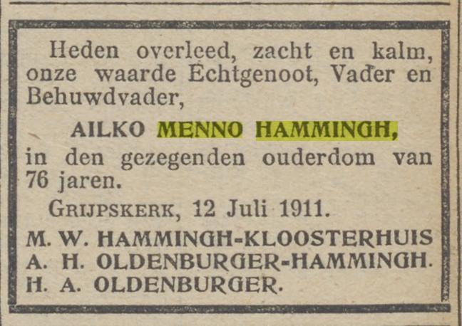 Ailko Menno Hammingh, overleden 12 juli 1911
