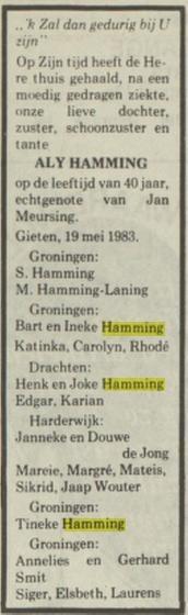 Aly Hamming dochter van Sikke Hamming en Martha Laning 1983