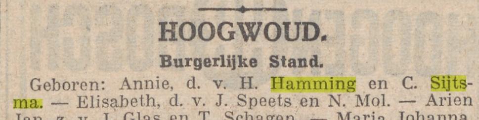 Annie Hamming, Dagblad nieuwe Hoornsche courant 27-12-1939