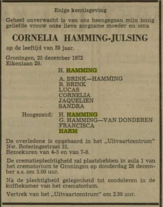 Cornelia Hamming Julsing overlijden