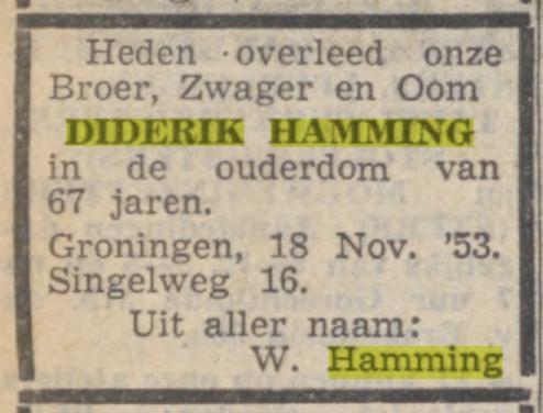 Diderik Hamming overleden 18 november 1953