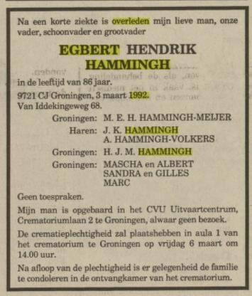 Egbert Hendrik Hammingh, gehuwd met Maria E.H. Meijer