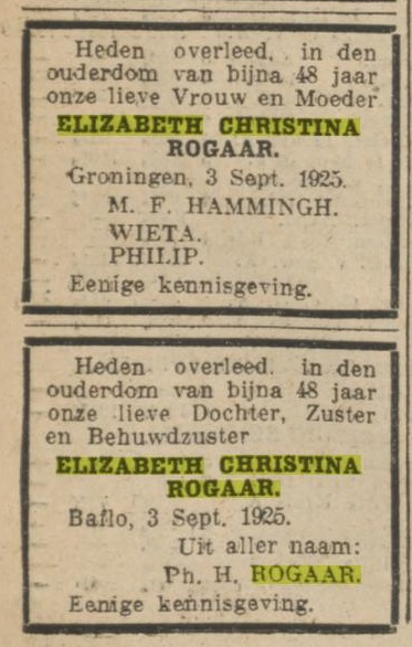 Elizabeth Christina Rogaar echtgenote M.F. Hammingh