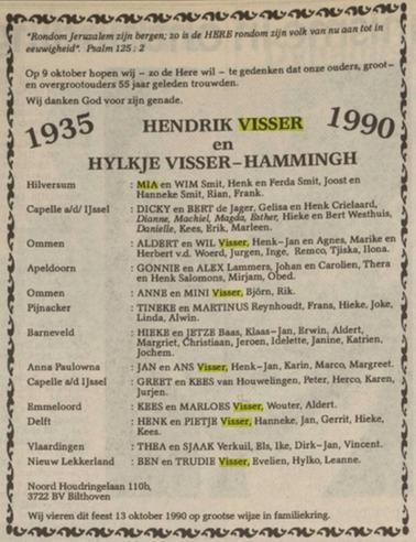 Familie Hendrik Visser en Hylkje Visser-Hammingh 1990