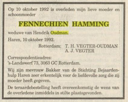 Fennechien Oudman-Hamming