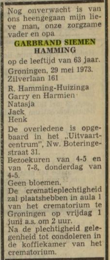 Garbrand Siemen Hamming overlijden 1973