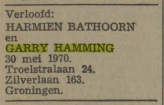 Garry Hamming en Harmien Bathoorn trouwen 1-6-1979
