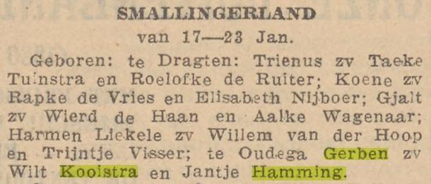 Kooistra Hamming overlijden schoonmoeder Jantje Hamming