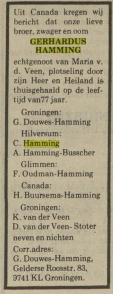 Gerhardus Hamming en Maria van der Veen