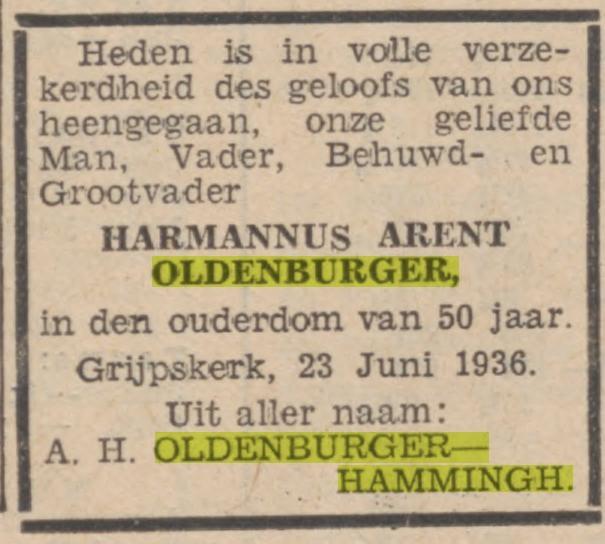 Harmannus Arent Oldenburger juni 1936
