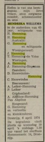 Hendrika Hamming Willems 1974