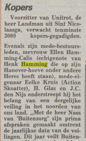 Henk Hamming en Ellen Calis, telegraaf 10-10-1990