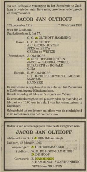 Jacob Jan Olthoff, huwde G Hammingh