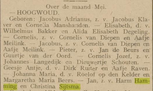 Jan Hamming zoon van Harm Hamming en Christina Sijtsma geboren