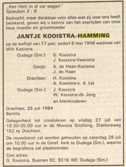 Jantje Kooistra Hamming 1984