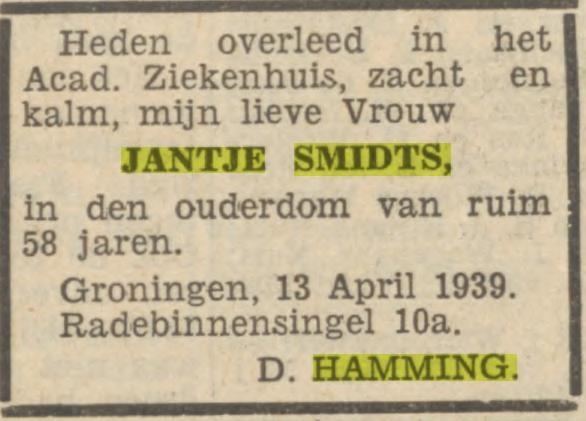 Jantje Smidts overleden 13 april 1939