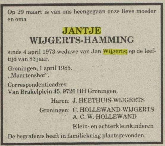 Jantje Wijgerts Hamming overleden 1 april 1985