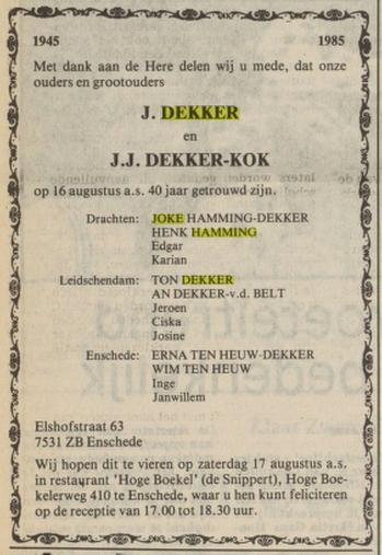Joke Dekker en Henk Hamming, ouders Joke