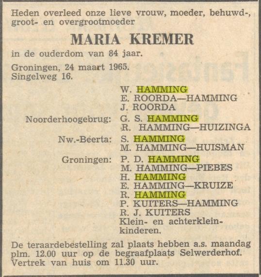 Maria Hamming Kremer overlijden