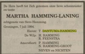 Martha Hamming-Laning overlijden schoonfamilie