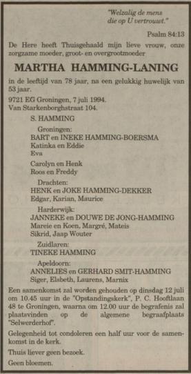 Martha Hamming-Laning overlijden