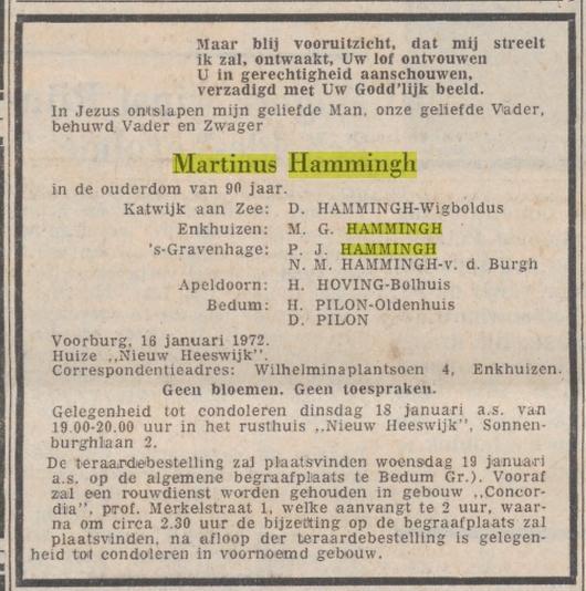 Martinus Hammingh, overleden 16-01-1972