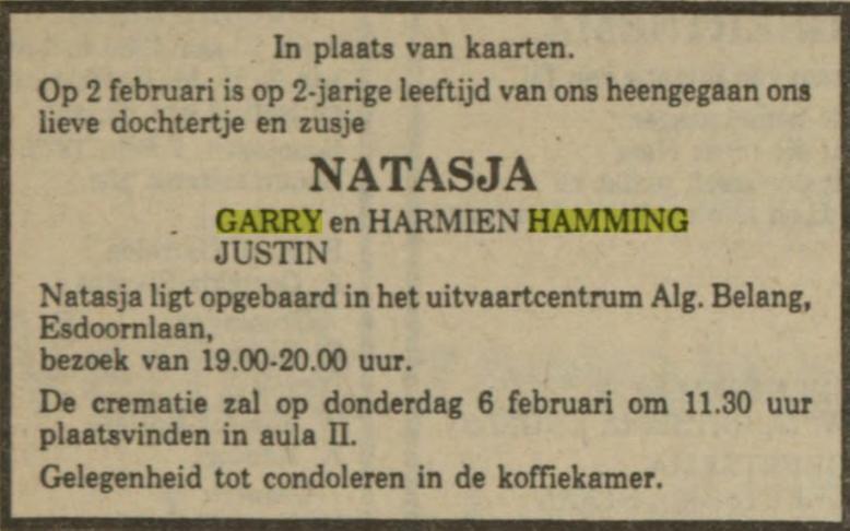 Natasja Hamming dochter van Garry en Harmien Hamming