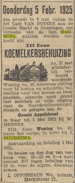 Openbare verkoping Hamming Groote Appelstraat 39 Groningen