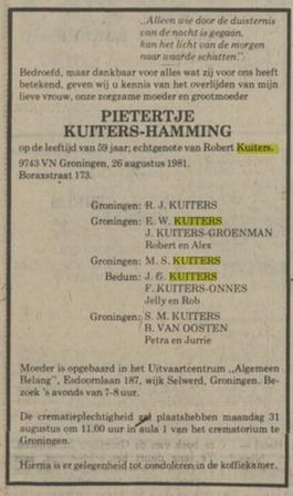 Pietertje Kuiters Hamming overlijden