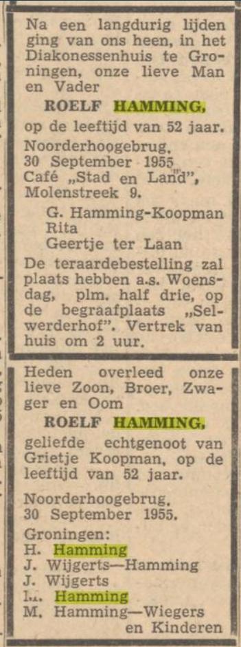 Roelf Hamming en Grietje Koopman, overlijden Roelf