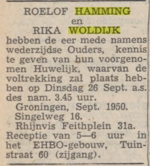 Roelof Hamming en Rika Woldijk huwelijk