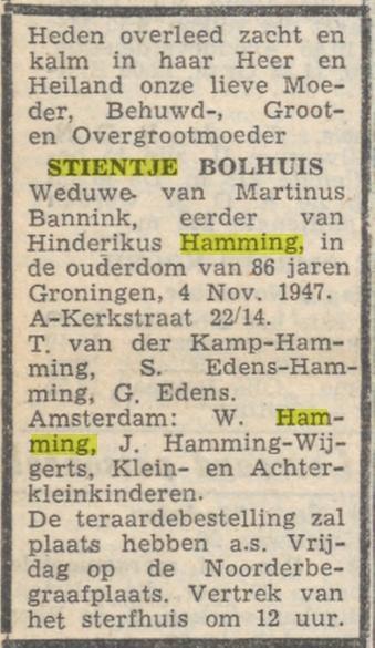 Stientje Bolhuis, weduwe Henderikus Hamming