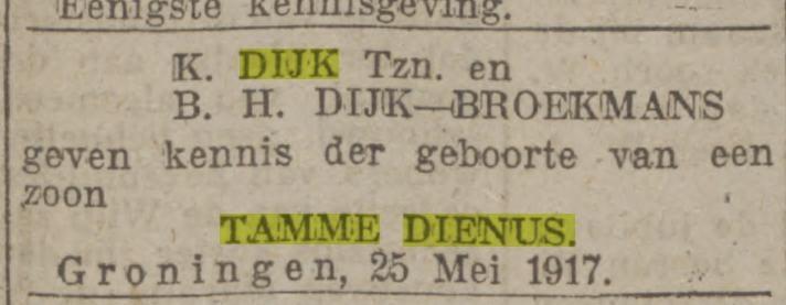 Tamme Dienus Dijk geboren 1917