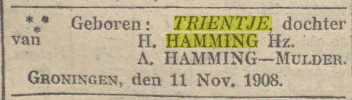 Trientje Hamming, geboorte, dv H. Hamming en A Hamming-Mulder
