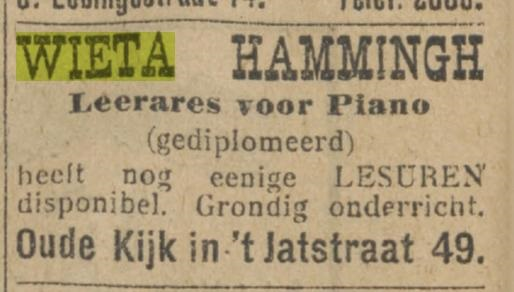 Wieta Hammingh, pianolessen 1923