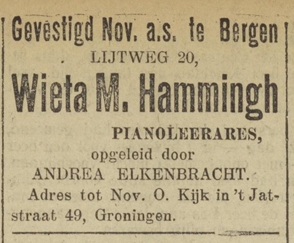 Wieta Hammingh, pianolessen Bergen 1925