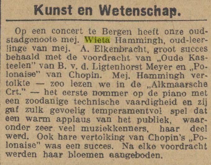 Wietina Margaretha (Wieta) Hammingh. Krant 14-04-1926.