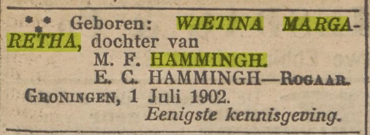 Wietina Margaretha (Wieta) Hammingh.
