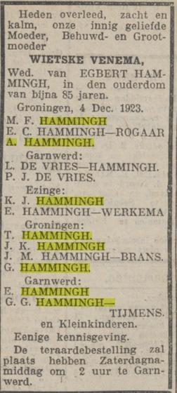 Wietske Hammingh-Venema