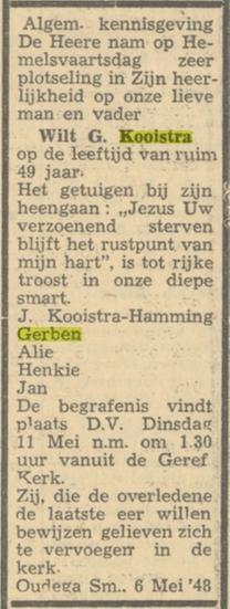 Wilt Gerben Kooistra overleden, partner Jantje Hamming