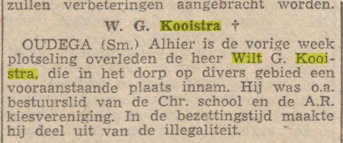 Wilt Kooistra, overleden 1948 Smallingerland
