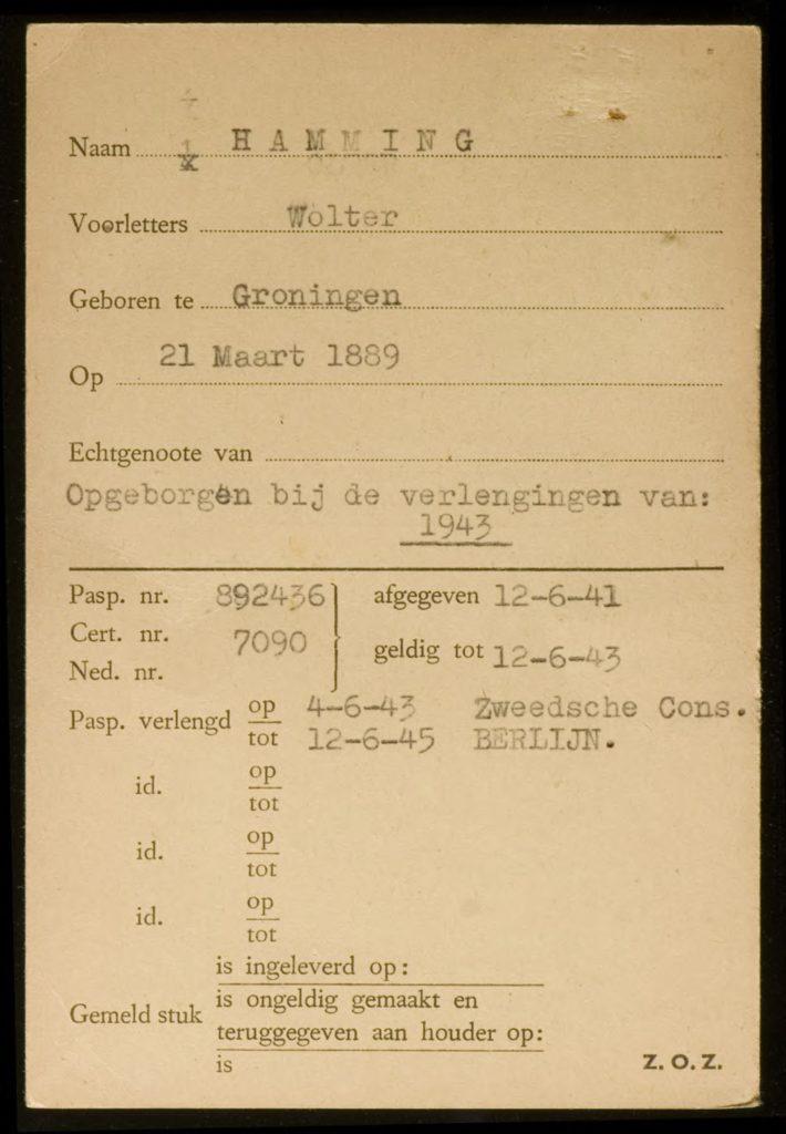Wolter Hamming, 21 maart 1889