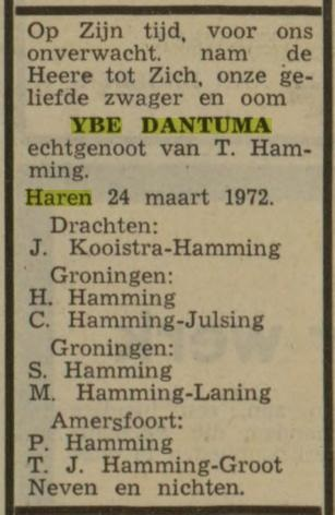 Ybe Regnesrus Dantuma Haren, gehuwd met Trientje Hamming zwagers en schoonzussen