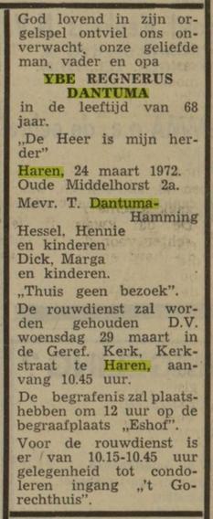 Ybe Regnesrus Dantuma Haren, gehuwd met Trientje Hamming