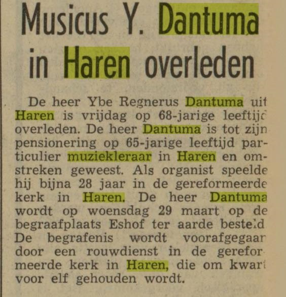 Yte Dantuma muziekleraar overleden
