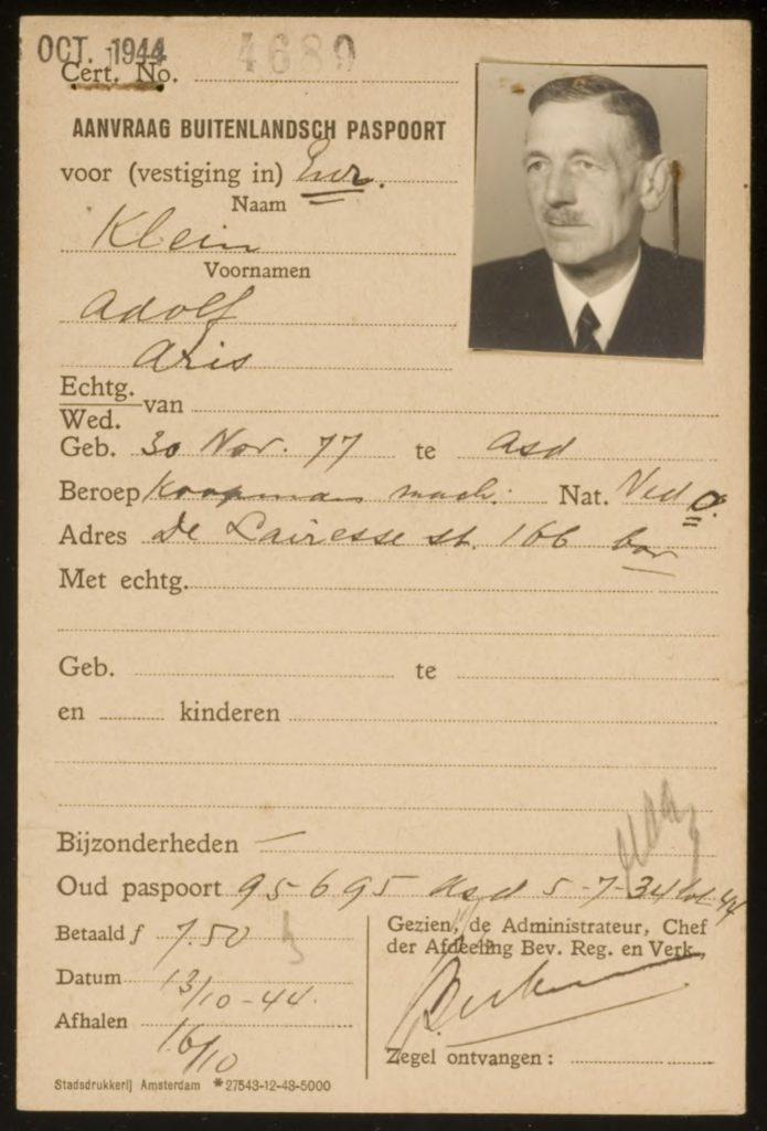 Adolf Aris Klein geboren Amsterdam 1877